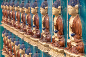 Buddhas on the Tibetan Pagoda in Beihai Park, Beijing. Photo by Brian Lander.