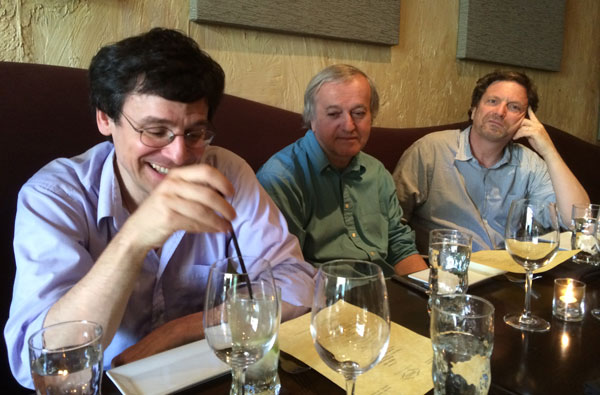 Michael Como, Bernard Faure, and Max Moerman at annual EALAC faculty dinner.